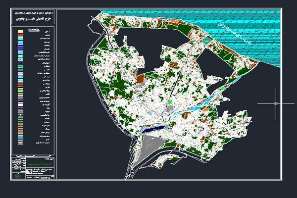 اتوکد کاربری اراضی شهر چالوس به صورت رایگان - فروشگاه ایرانیان شهرساز