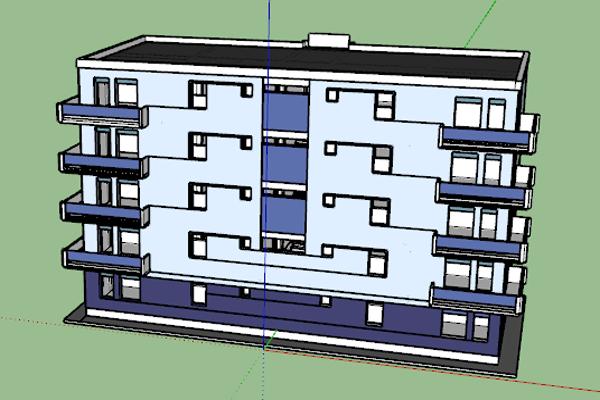 فایل آبجکت آپارتمان 4 طبقه در اسکچاپ - فروشگاه ایرانیان شهرساز