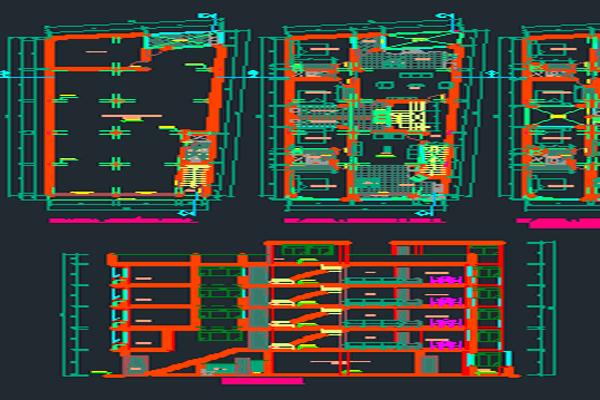 اتوکد طراحی آپارتمان مسکونی 4 طبقه به صورت رایگان - فروشگاه ایرانیان شهرساز