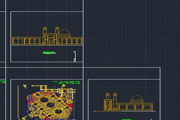 نقشه اتوکد مسجد عالی قاپو به صورت رایگان - فروشگاه ایرانیان شهرساز